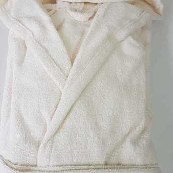 peignoir ou sortie de bain en éponge épaisse avec cape - écru