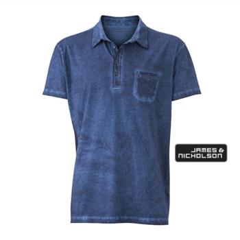 polo courtes manches pour homme - délavé bleu 3XL