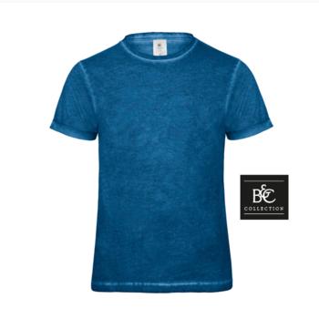 t-shirt délavé pour homme - bleu XXL