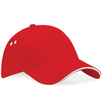 casquette rouge bord blanc