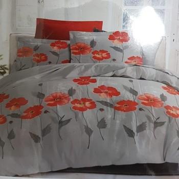 drap plat + drap housse 1.60*2m + 2 taies pour lit de 2 personnes - 100% coton - coquelicots