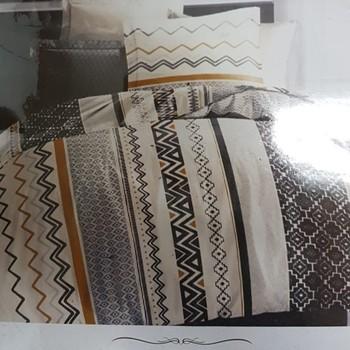 drap plat + drap housse 1.60*2m + 2 taies pour lit de 2 personnes - 100% coton - ocre