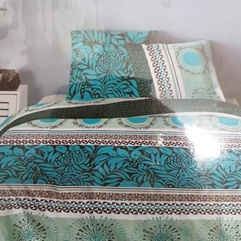 drap plat + drap housse 1.60*2m + 2 taies pour lit de 2 personnes - 100% coton - vert