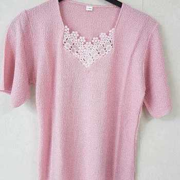 pull tricot courtes manches avec dentelle pour dame - vert - 38/40