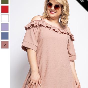 blouse uni brodé pour dame - parme 54/56