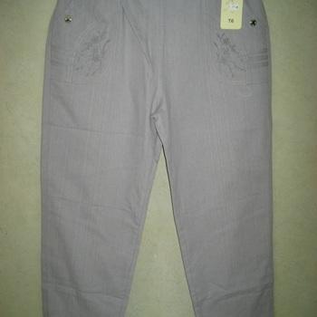 jeans taille élastique brodé aux poches pour dame - gris clair  t 3