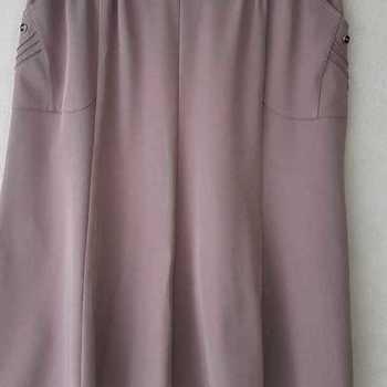 jupe godée polyester avec taille élastique avec poches - 1 bouton 3 plis taupe T4