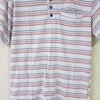 pyjashort coton jersey pour homme - 3 boutons ligné chiné gris clair S - M - L - XL - XXL à partir de