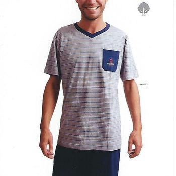 pyjashort coton jersey pour homme - V poche discover marine S - M - L - XL - XXL à partir de