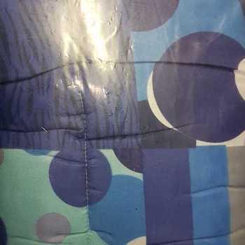 couette imprimée double face 1.40*2m pour lit d'1 personne - ronds bleus