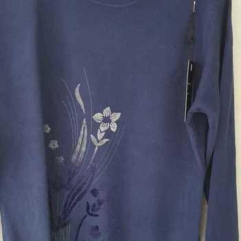 pull fleur pour dame - marine 42/44 46/48