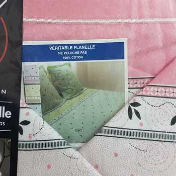 drap plat + drap housse + 2 taies pour lit de 2 personnes - flanelle arabesque rose