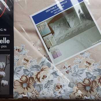 drap plat + drap housse + 2 taies pour lit de 2 personnes - flanelle moyen beige gris
