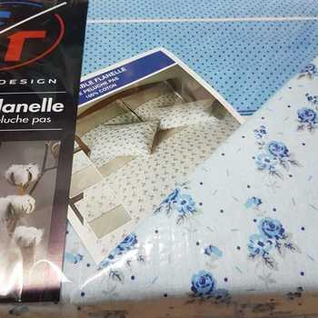 drap plat + drap housse + 1 taie en flanelle pour lit d'1 personne - bleu