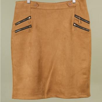jupe droite peau pêche pour dame - camel 42/44 46/48 50/52