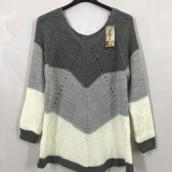 pull tricot 3 bandes gris 40/46