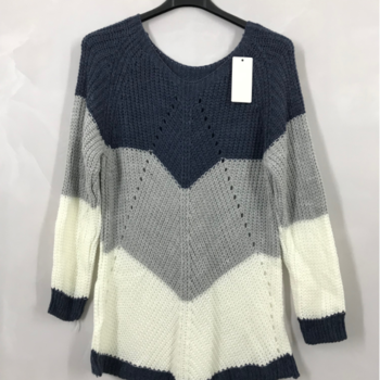 pull tricot 3 bandes bleu 40/46