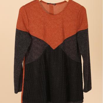 pull tricot noir/gris/rouille 50/52 54/56