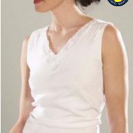 chemisette coton sans manches pour dame - avec dentelle S - M - L - XL - XXL - 3XL à partir de