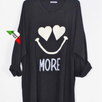 blouse coton lourd noire smiley T50 à 56