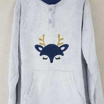 pyjama polaire fluffy pour dame - cerf gris S - M - L - XXL à partir de