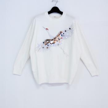 pull oiseau T40/48 blanc