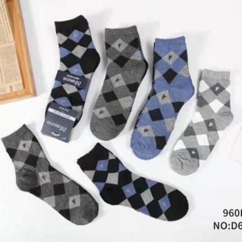 chaussettes mi-longues 40/46 losanges avec 87% coton - 3 pour 6.30€
