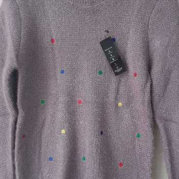 pull poilu avec pois T38/44 - taupe