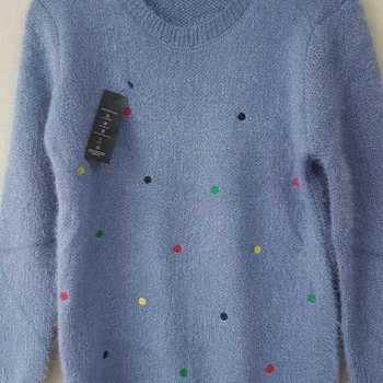 pull poilu avec pois T38/44 - bleu jeans