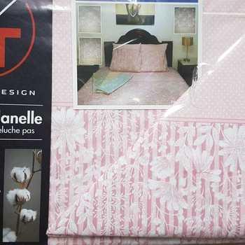 drap plat + drap housse + 1 taie en flanelle pour lit d'1 personne - ligne fleur rose