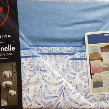 drap plat + drap housse + 2 taies pour lit de 2 personnes - flanelle arabesque bleu