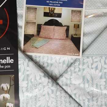 drap plat + drap housse + 2 taies pour lit de 2 personnes - flanelle ligne fleur ice