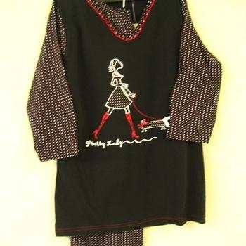 pyjama corsaire noir, manches 3/4 - reste S EN PROMO