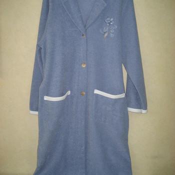 peignoir boutonné bouclette intérieur polaire - catini bleu jeans