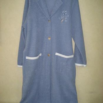peignoir boutonné bouclette intérieur polaire - catini bleu jeans - reste S/M