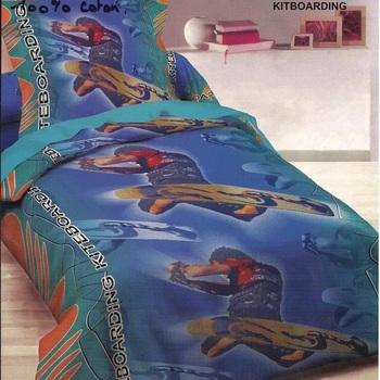 housse de couette + 1 taie en coton pour lit d'1 personne - kitboarding