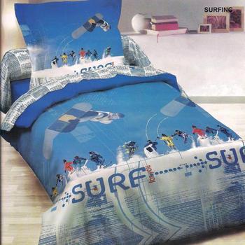 housse de couette 1.4*2m + 1 taie en coton pour lit d'1 personne - surfing