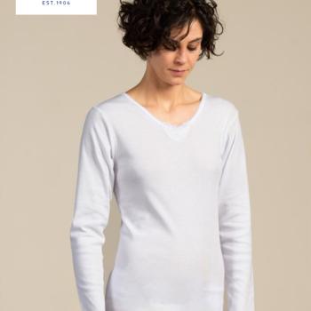 """chemisette longues manches en coton """"Eskimo"""" pour dame - skitop EN PROMO reste M"""