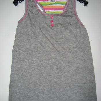 chemisette sans manches en coton pour filles de 8 à 16 ans - gris/rose en PROMO