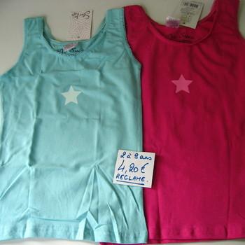 chemisette sans manches coton fuschia ou turquoise de 2 à 9 ans EN PROMO