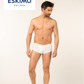 """slip coton """"eskimo"""" avec ouverture pour homme - blanc"""