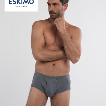 """slip coton """"eskimo"""" avec ouverture - gris foncé"""