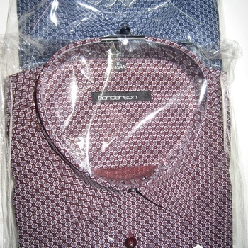 chemise longues manches polyester-coton pour homme - petits motifs bordeau EN PROMO - reste M
