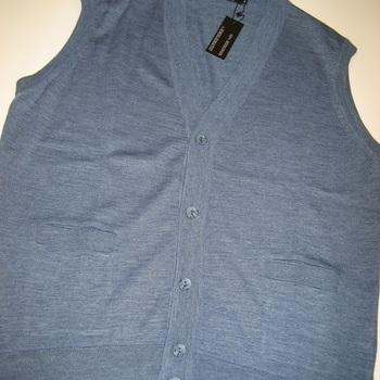 gilet boutonné sans manches avec poches et laine pour homme - bleu - M & XXL