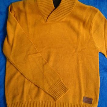 pull col châle avec laine pour homme - ocre EN PROMO - reste M