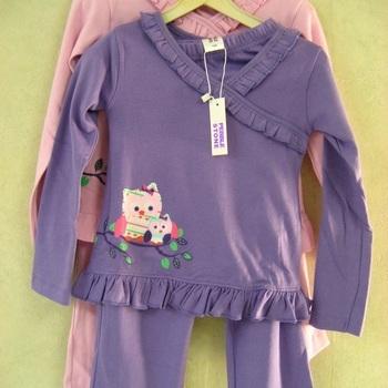 pyjama interlock cache-coeur - reste mauve 6 ans EN PROMO