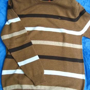 pull ras du cou avec de la laine - marron avec lignes ciel - pour homme EN PROMO - reste L