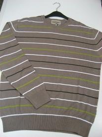 pull ras du cou coton beige ligné pour homme - easy line EN PROMO