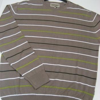pull ras du cou coton beige ligné pour homme - easy line EN PROMO - reste L