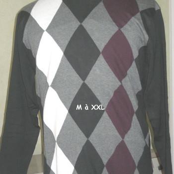 pull ras du cou coton avec des losanges pour homme - reste XL EN PROMO